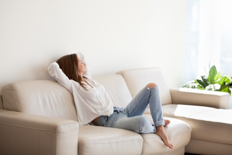 Girl on sofa relaxed